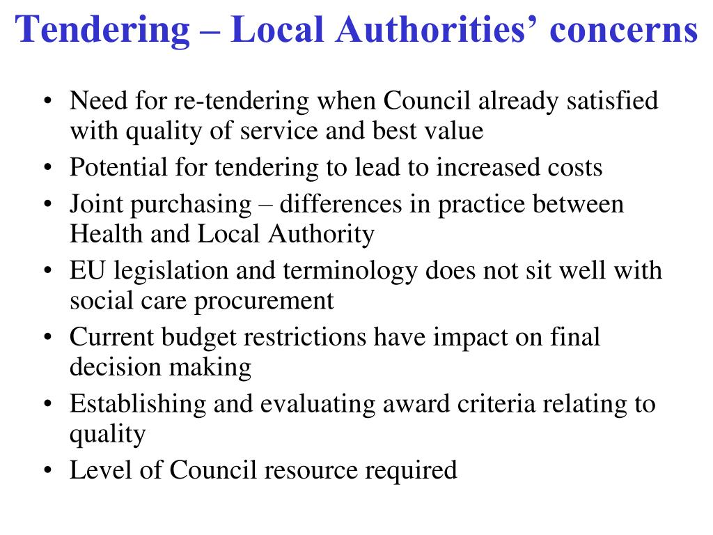 Need for re-tendering when Council already satisfied with quality of service and best value