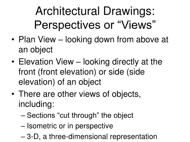 Architectural drawings perspectives or views