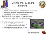 definisjoner av de tre lavendel