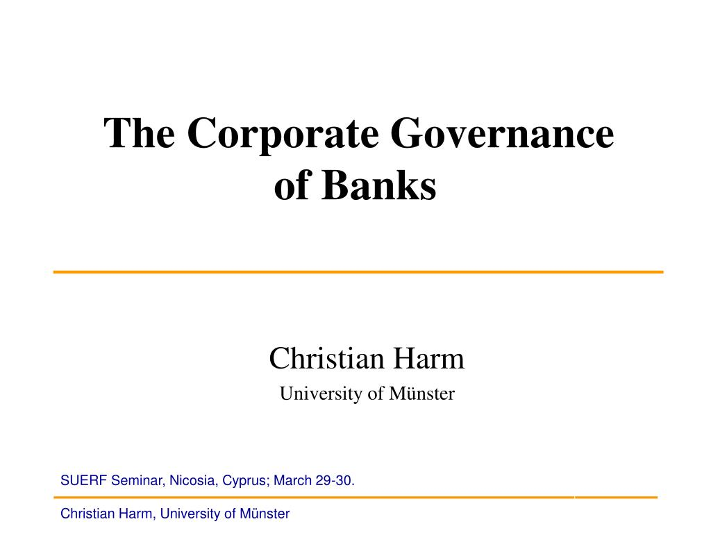 the corporate governance of banks l.