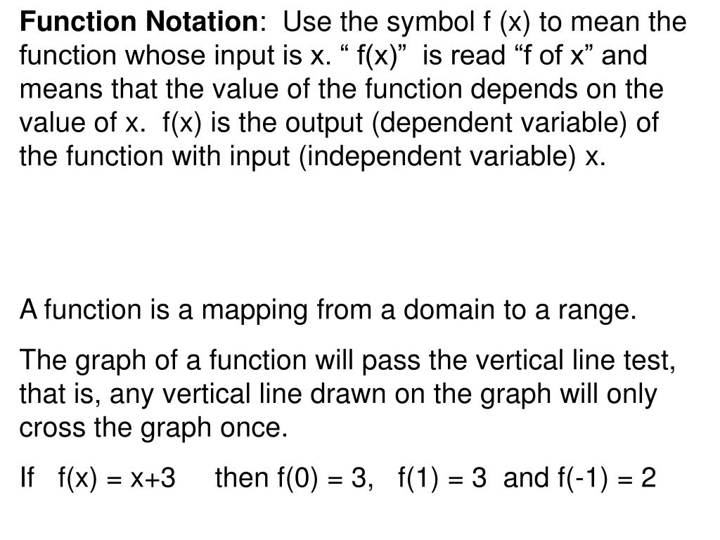 Function Notation