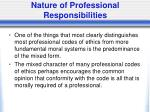 nature of professional responsibilities