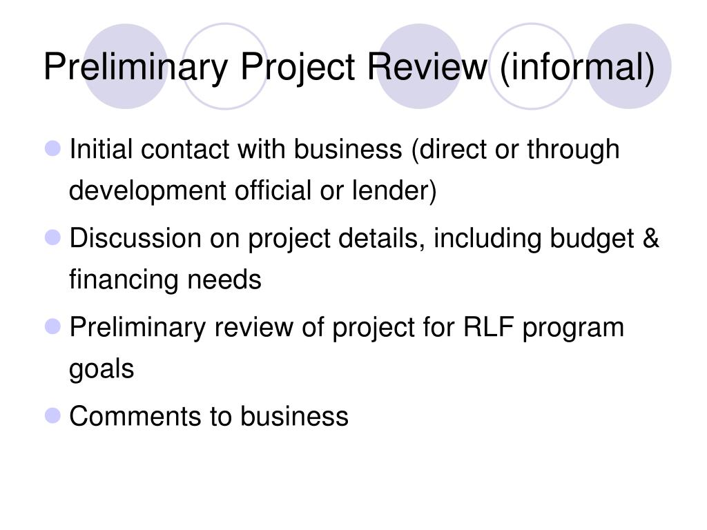 Preliminary Project Review (informal)