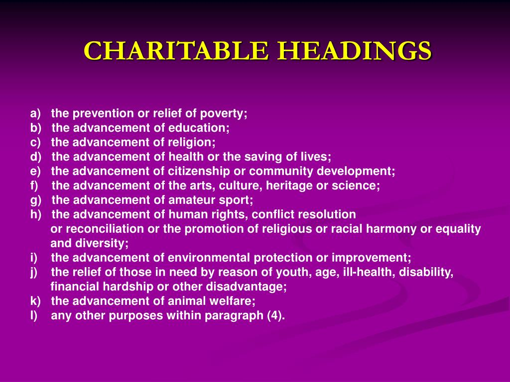 CHARITABLE HEADINGS