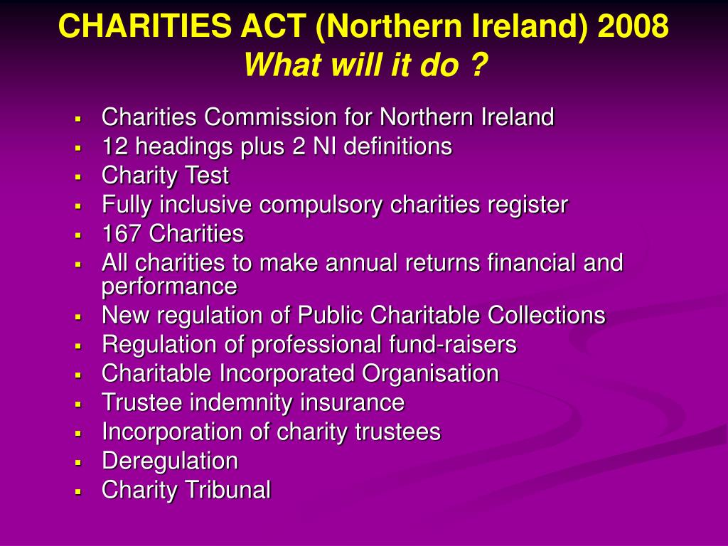 CHARITIES ACT (Northern Ireland) 2008