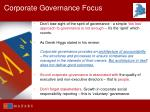 corporate governance focus