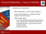 financial statements focus on activities70