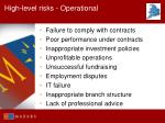 high level risks operational