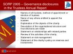 sorp 2005 governance disclosures in the trustees annual report