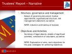 trustees report narrative