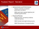 trustees report narrative67