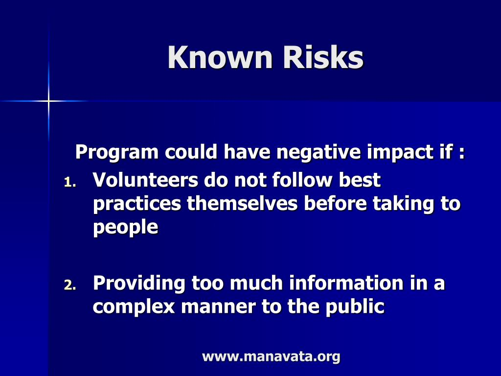 Known Risks