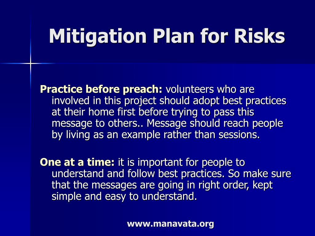 Mitigation Plan for Risks