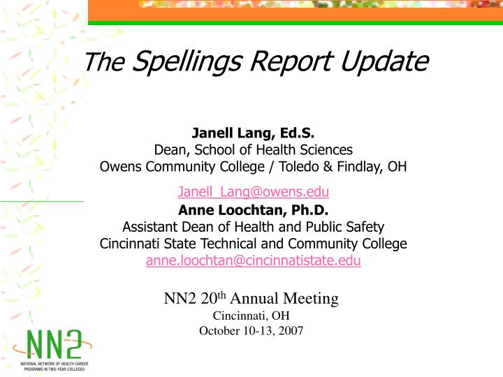 the spellings report update n.