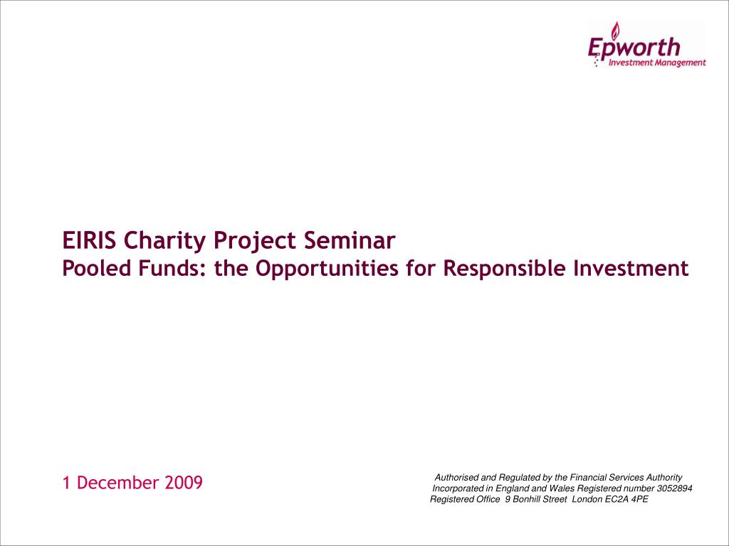 eiris charity project seminar pooled funds the opportunities for responsible investment l.