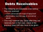 debts receivables