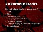 zakatable items