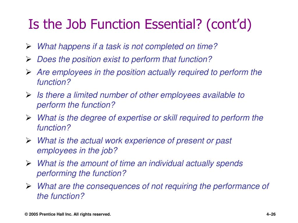 Is the Job Function Essential? (cont'd)