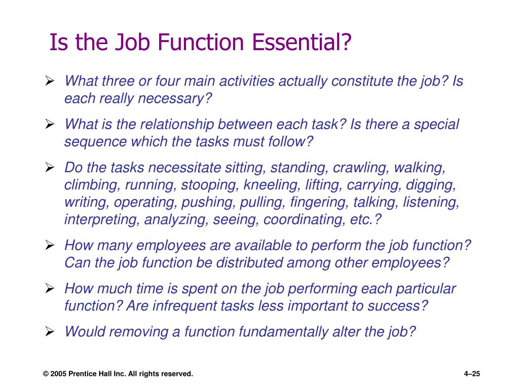Is the Job Function Essential?