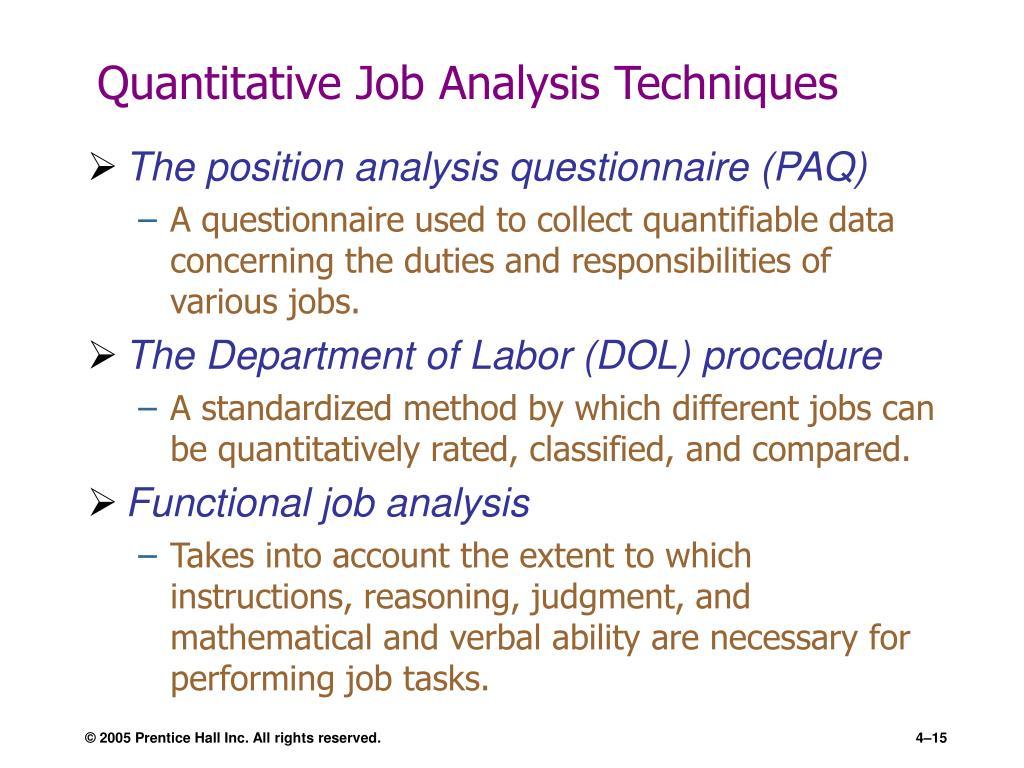 Quantitative Job Analysis Techniques