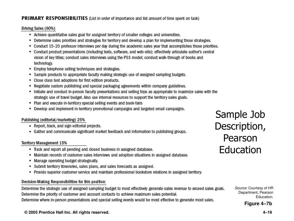 Sample Job Description, Pearson Education