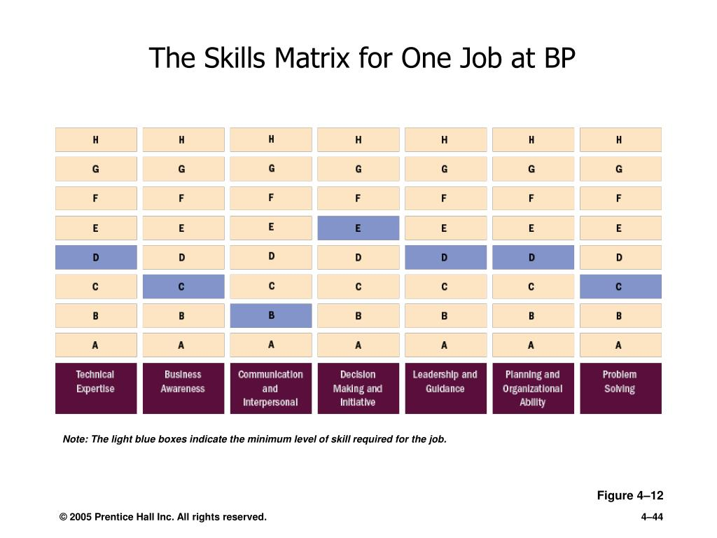 The Skills Matrix for One Job at BP