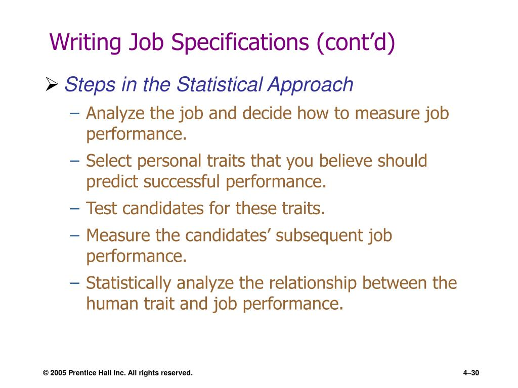Writing Job Specifications (cont'd)