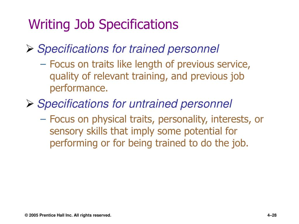 Writing Job Specifications
