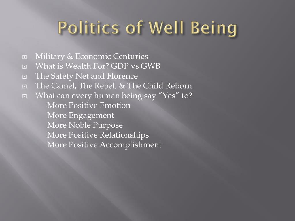 Politics of Well Being