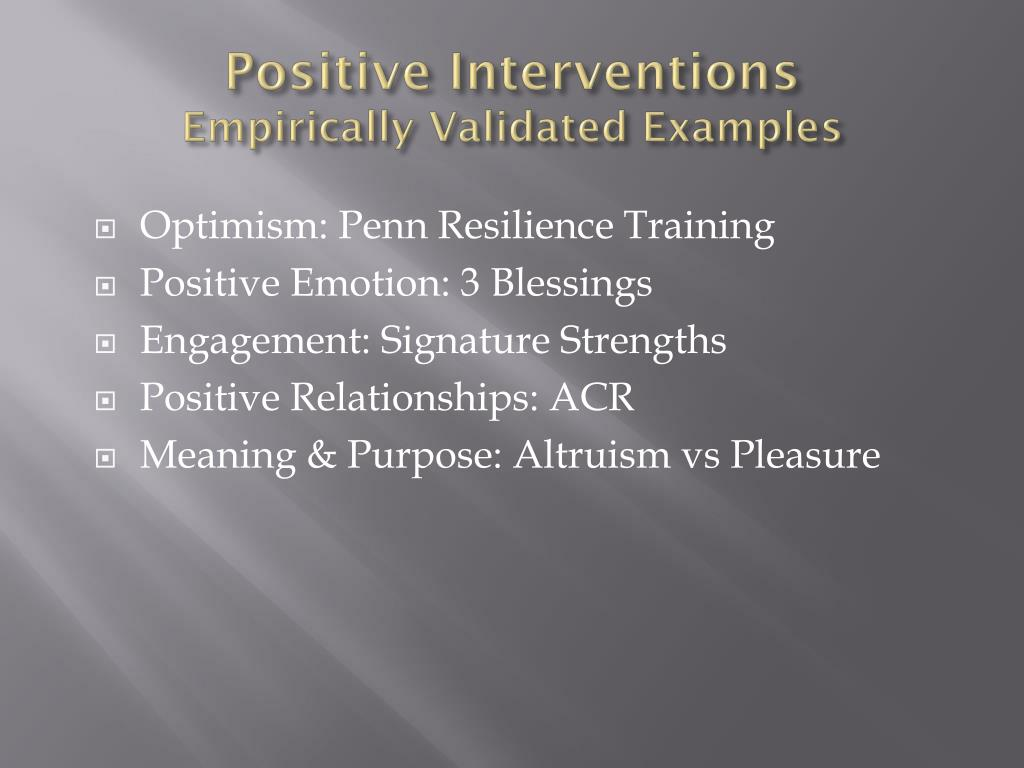 Positive Interventions