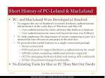 short history of pc leland macleland