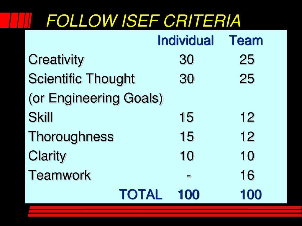 FOLLOW ISEF CRITERIA