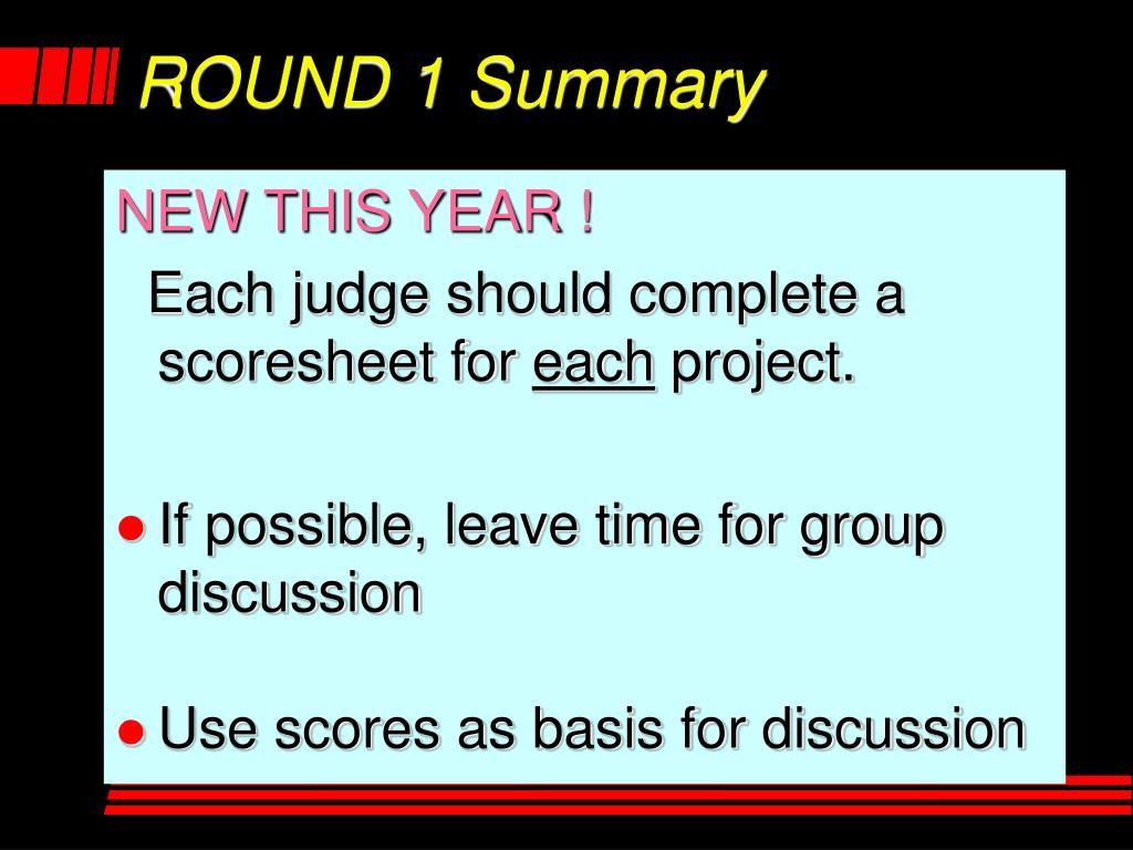 ROUND 1 Summary