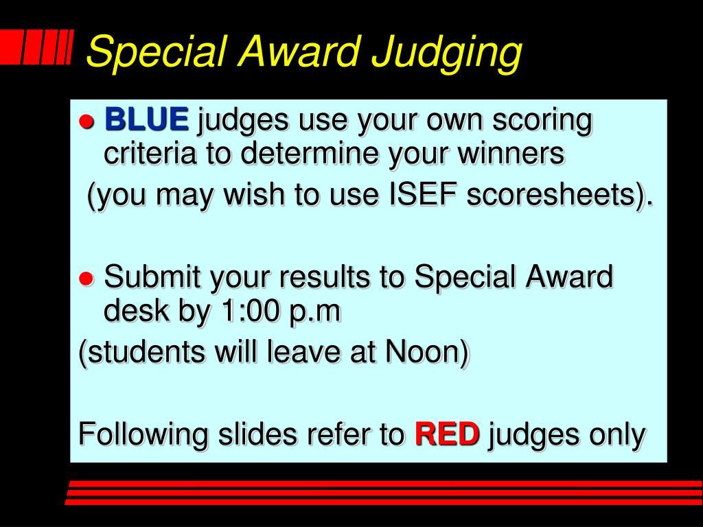 Special Award Judging