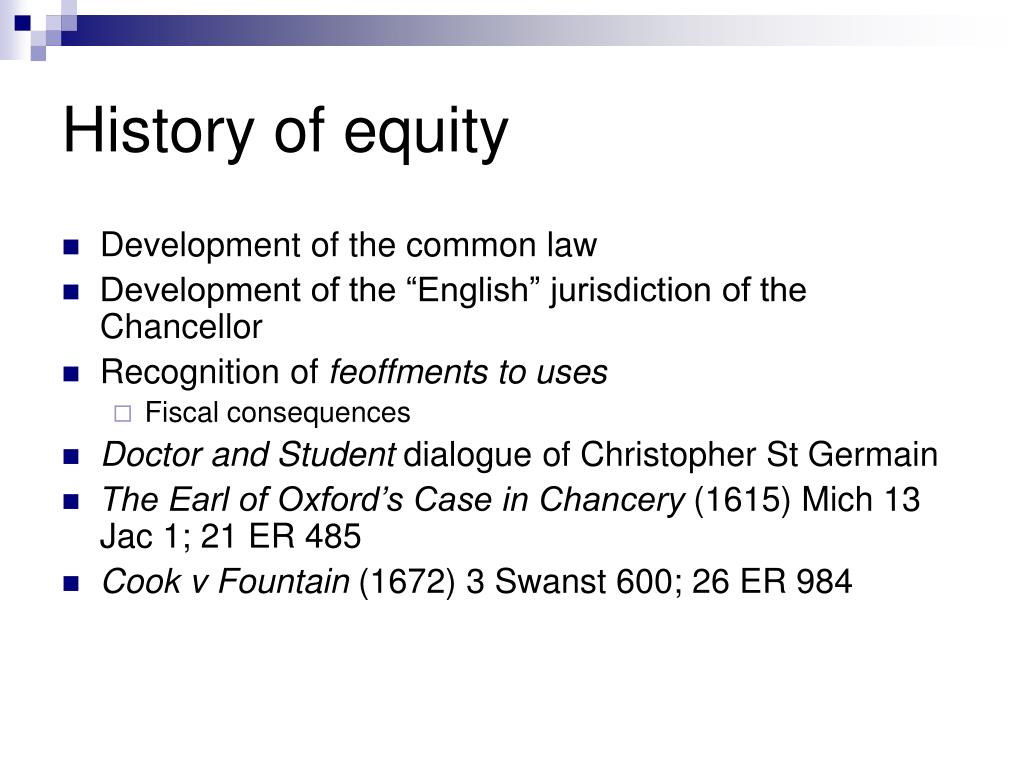 historical development of equity