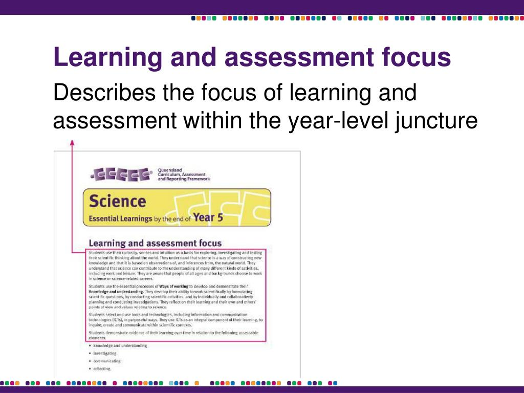Learning and assessment focus