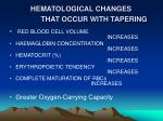 hematological changes that occur with tapering