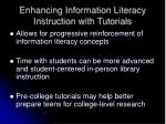 enhancing information literacy instruction with tutorials
