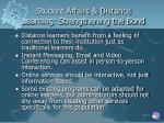 student affairs distance learning strengthening the bond