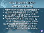 why students choose distance learning