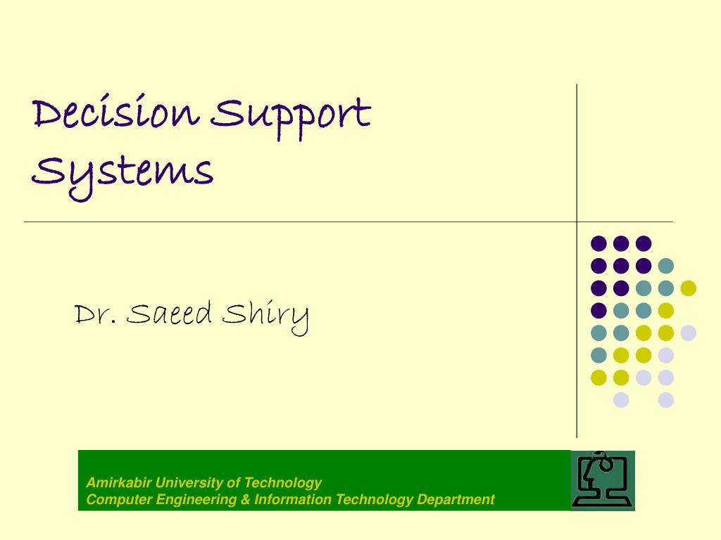decision support systems l.