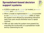 spreadsheet based decision support systems