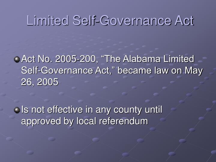 Limited self governance act