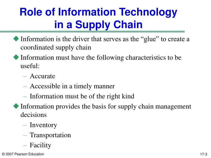 Role of information technology in a supply chain