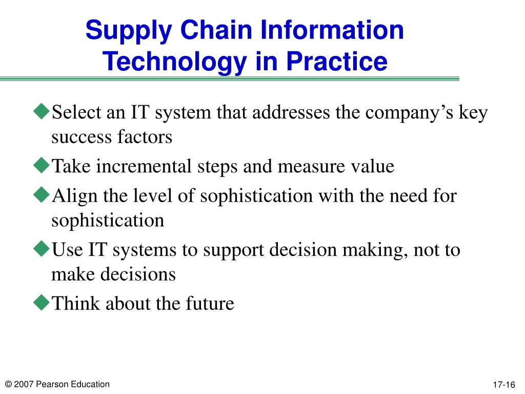 Supply Chain Information Technology in Practice