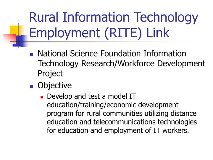 Rural information technology employment rite link