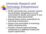 university research and technology entrepreneurs
