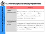 e governance projects already implemented