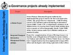 e governance projects already implemented10