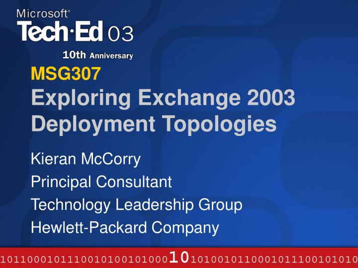 msg307 exploring exchange 2003 deployment topologies n.